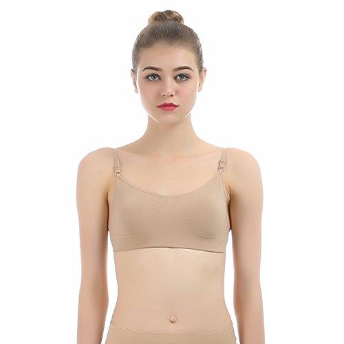 Cabrio Sport-bh (imucci Professional Rückenfrei beige Ballett Dance Transparente Rückseite Frauen BH Verstellbarer Schultergurt Freebra Nahtlose BHS Unterwäsche deutet)