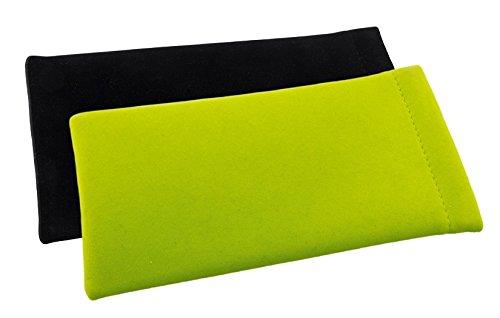 Einsteck-Brillenetui im Zweierpack - Einstecketui mit Schnappsverschluss in Velour (1x Grün + 1x Schwarz)