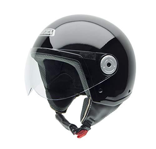 NZI Vintage II Casco de Moto, Negro Brillo, 57 (M)