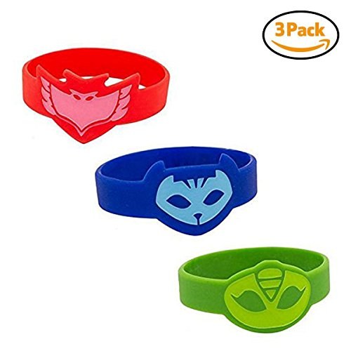 PJ Masken Kostüm,Halloween Kostüm,Handgelenkbandage Silikon Armbänder für Kinder Set von 3 - Catboy Owlette (Owlette Masken Kostüm Pj)