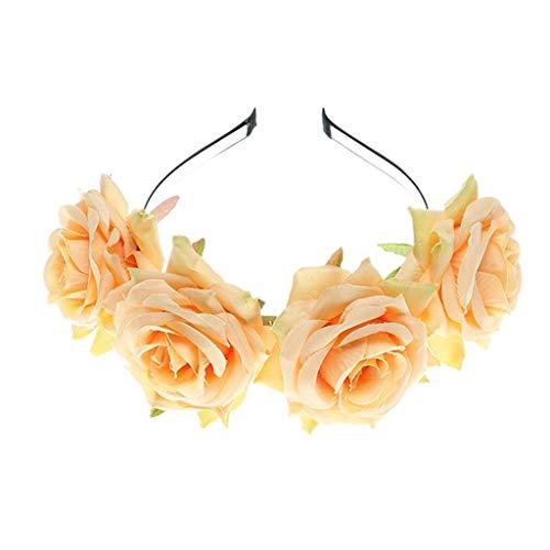 WERVOT Tuch Rose Stirnband Stirnband Brautjungfer Hochzeit Haarschmuck(Gelb,Free - Band Mitglied Kostüm