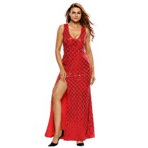 PU&PU Femme Casual / Sortie / Party Elegant Sequins Side Slit Maxi Robe, col V sans manches Open Back red