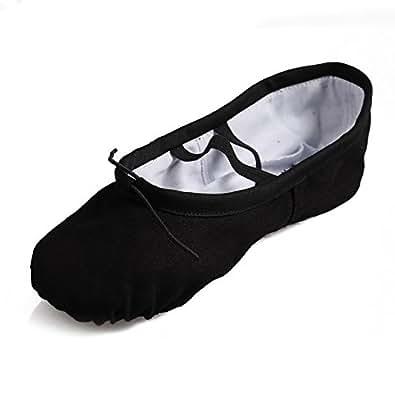 JINFENGKAI Gymnastic Yoga Canvas Ballet Dance Shoes Children's & Adult's Sizes,Black,EU24
