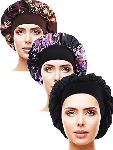 3 Stücke Satin Schlafmütze Elastisch Breit Band Hut Nacht Schlaf Kopfbedeckung für Schlafbedarf (Farbe Set 4) Satin Hair Wrap