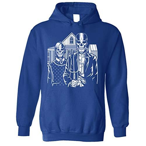 Tim And Ted Schädel Kapuzenpullover Skeleton Gotischen Haus in Eldon Royal Blue Large -