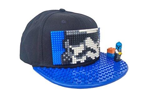 """Preisvergleich Produktbild Snapback Cap schwarz Kinder """"Stormtrooper"""" mit Mini-Baustein-Design und abnehmbarer Schirmabdeckung, Flat Cap für Lego, individuell zum gestalten"""