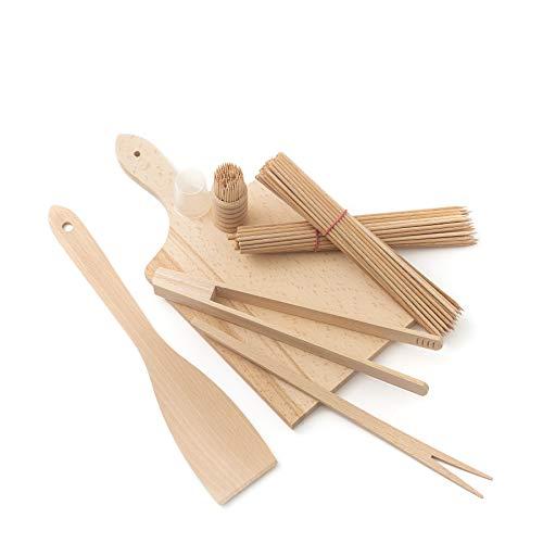 Tuuli Kitchen Grillbesteck Set Holz Buche Antibakteriell Hochwertig (Schneidebrett, Pfannenwender, Grillzange, Grillgabel für Cevapcici, Zahnstocher, Grillspieße)