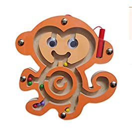 HappyToy Mini Animal Round legno magnetico bacchetta Numero labirinto interattivo labirinto perline magnete Maze sulla scheda del gioco Città di traffico Eduactional Artigianato Giocattoli (Scimmia)