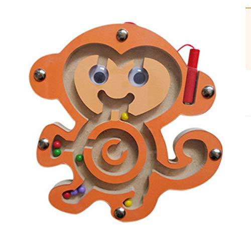 HappyToy Animal Mini varita magnética de madera redonda número laberinto laberinto interactivo imán cuentas laberinto en tráfico de la ciudad divertida juego de mesa juguetes artesanales (Mono)