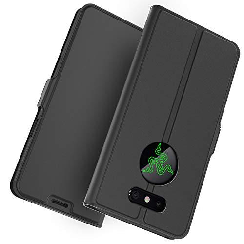 Yadasaro Hülle für Razer Phone 2, Ultra Slim Bookstyle Leder PU Weiche Silikon Flexible Hülle Stoßfest Shockproof Vollschutz Schutzhülle für Razer Phone 2 Schwarz
