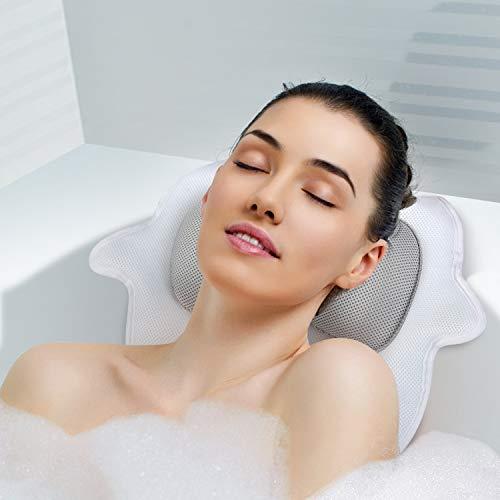 YISUN Badewannenkissen, Badekissen Wannenkissen Badewanne mit Saugnäpfen Home SPA Kopfstütze für Nackenkissen Whirlpool 5D Air Mesh Ergonomische Bade-Kissen (weiß)