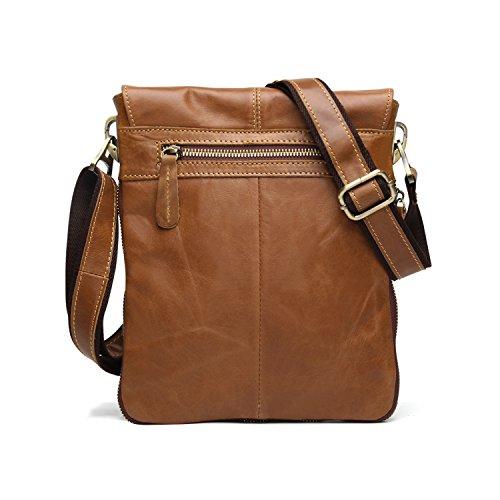 BAIGIO Herren Vintage Messenger Bags Freizeit Ledertasche Echt Leder Schultertasche Aktentasche Lehrertasche Unitasche Umhängetasche Tasche,Grün Hellbraun