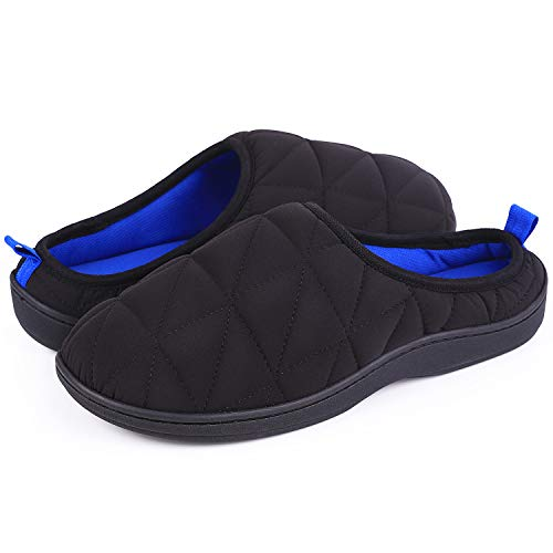 13751a55875c7e LongBay Men's Memory Foam House Slippers Warm Cozy Down Quilted Slide House  Shoes Sport or Camping