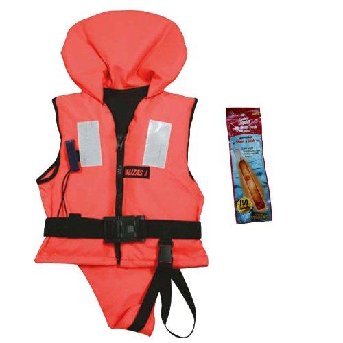 Rettungsweste 30 - 40 kg ISO 12402-4 zertifiziert, incl. Leuchtstab für einmalige Verwendung ()