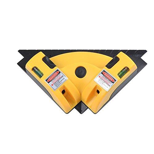 KOBWA Vertical Horizontal Laser, Word Line Lampe de carré Niveau à Angle Droit Règle Infrarouge Pied Guide Outil de Mesure Home en extérieur Outil de Mise en Page W/Deux Niveaux à Bulles