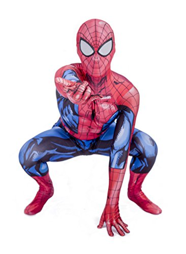 Big Party Costumes Kinder Super Hero Spinne Kostüm (Rot & Blau) (7-8 Jahre) (Marvel Spiderman Kostüm)
