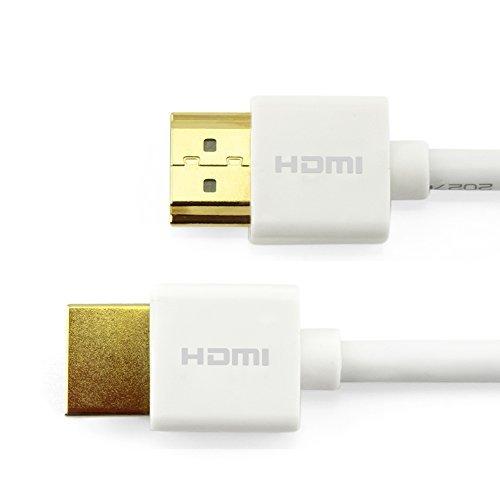 HDMI Kabel 1M - Ultraflexibel weiß - HDMI 2.0 (a/b) kompatibel - 4K : Ultra HD 2160p / Full HD 1080p / HDR / 3D / Ethernet / Audio Return Channel (ARC) - Flexibel und Mehrfach Schirmung.