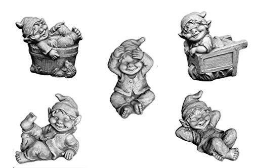 Sonderangebot: Stück 5 lustige kleine Gnome Trolle Wichtel aus Steinguss frostfest