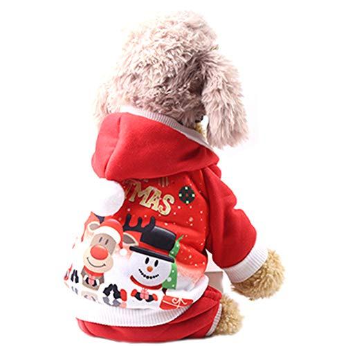 (Naisicatar Hundewinterkleidung Wendejacke warme Mantel-Winddichtes Plaid-Weste Weihnachten Anzug für Small Medium Large Hunde Haustiere Kaltes Wetter Tragen - Rot (M))