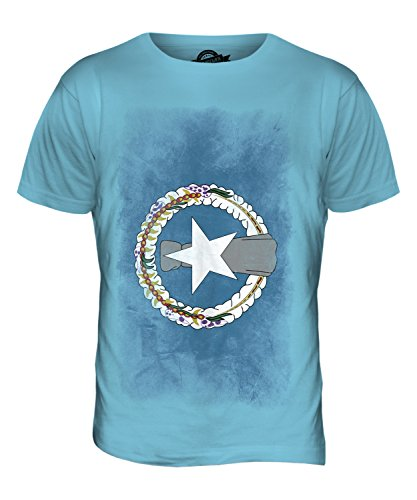 CandyMix Nördliche Marianen Verblichen Flagge Herren T Shirt Himmelblau