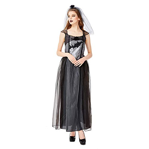 Kostüm Gaze Ghost - FGDJTYYJ Halloween Cosplay, Halloween Schwarz Gaze Ghost Vampire Devil Wear Ghost Kostüm (Schleier + Rock),L