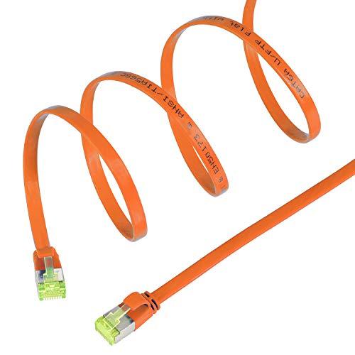 TPFNet 0,25m CAT.7 Gigabit LAN Kabel Flach UFTP (Rj-45) 10 Gbit/s - Orange