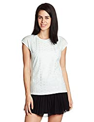 UCB Womens Plain T-Shirt (15P3SL1E6072I_39P-Pearl Blue_Large)