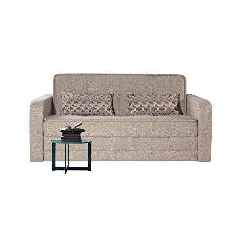 Webmarketpoint divano letto 3 posti in tessuto crema con contenitore 115x172xh.90 cm