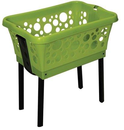 Wäschekorb aus Kunststoff mit ausklappbaren Beinen in weiß, blau oder grün - Farbe wählbar