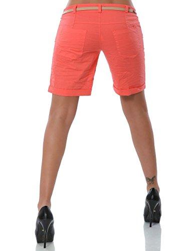 Damen Shorts Chino Kurze Hose inkl. Gürtel (weitere Farben) No 13908 Lachs