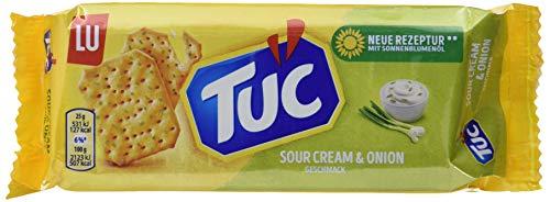 TUC Sour Cream & Onion - Fein gesalzenes Knabbergebäck mit Sauerrahm-Zwiebelgeschmack - 18 x 100g (Cream Onion Sour Chips)