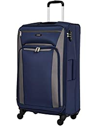 Amazon Brand - Solimo 78 cms Softsided Suitcase with Wheels and TSA Lock, Blue