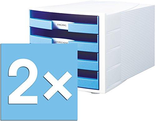 Han 1011 Schubladenbox IMPULS mit großem Beschriftungsfeld und 4 offenen Schubladen, Trend Colour (hellblau/2er Pack)