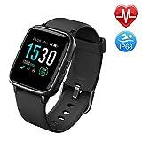 Duang Smartwatch, Bluetooth Fitnessuhr Damen Fitness Tracker Herren, 1,3-Zoll-Farbbildschirm Sportuhr mit Schrittzähler Pulsmesser Schwimmen wasserdicht IP68, iOS Smartwatch Android-Handy (Black)