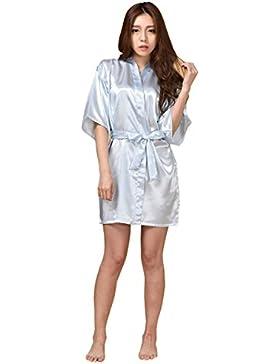 GL&G La signora abito kimono abito elegante sexy sottile cardigan breve paragrafo accappatoi comodi pigiami azzurri...