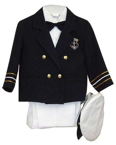 Fine Brand Shop Navy Blue Boys & Baby Boy Captain Sailor Tuxedo Special Occation Suit, White Pants, Jacket, Bowtie, Shirt, Hat - 18-24 Months
