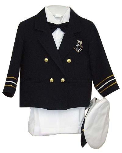 Fine Brand Shop Navy Blue Boys & Baby Boy Captain Sailor Tuxedo Special Occation Suit, White Pants, Jacket, Bowtie, Shirt, Hat - 18-24 Months