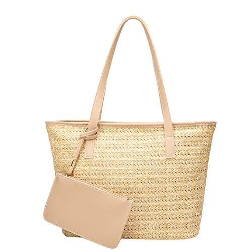 TIFIY Damen Retro Casual Stroh Tragetaschen Schultertasche Einfache Woven Bucket Bag Outdoor Handtasche Satchel (Beige) -