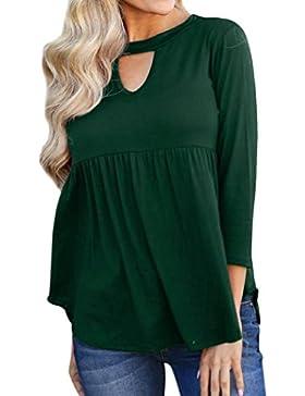 Mujer blusa tops otoño suave y suelto urbano streetwear,Sonnena Blusa camisa manga tres cuartos de lino algodón...