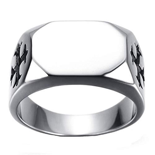 (YABEINI Schmuck Edelstahl Einfache Gekreuzte rechteckig Poliert singt Ring für Männer Ringe)