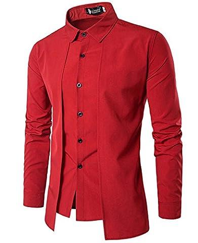 CLOCOLOR Chemise de Homme Mode Slim Fit Manche Longue Chemise Casual Style de Fake à Deux Pièce Rouge
