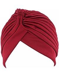QHGstore Mujer Chemo plisado Pre cabeza atada cubierta hasta Bonnet Sun Turbante Cap vino rojo