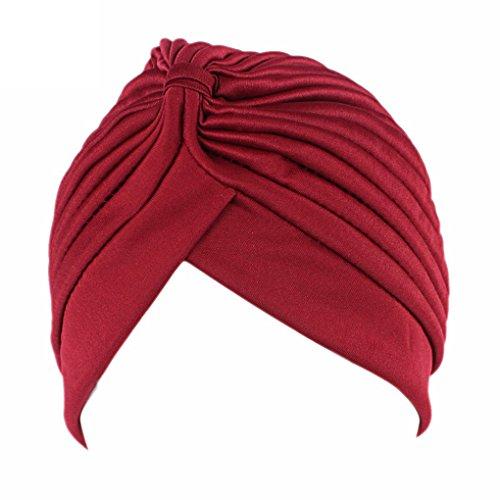 LUFA Frauen Chemo Falten Vorgebundenen Kopf Cover Up Strickmütze Sun Turban Cap Weinrot