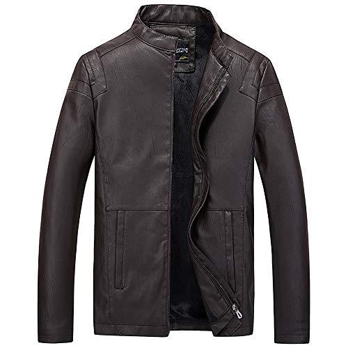 MOTOCO Herren Belted Biker Jacke Stehkragen Cool Motorrad Lederjacke Reißverschluss und Fleece Facket(2XL,Kaffee)