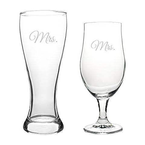 Cathy's Concepts MRS2223 Mrs. & Mrs. Pilsner Set,