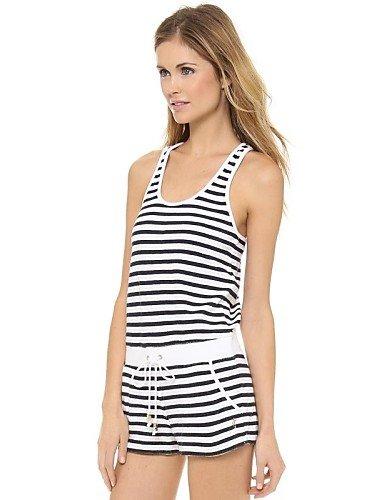 GSP-a strisce in bianco e nero senza maniche pagliaccetto tutina delle donne , black-s , black-s