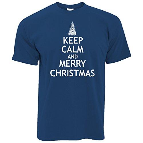 Weihnachten T-Shirt Halten Sie Ruhe und Merry Xmas Royal Blue Large (Baum Royals Kleidung)