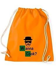 Shirtstown Turn Bolsa Premium gymsac Wanna Cook? Tubo de ensayo (Test Tube, naranja