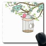 Luancrop Mousepad per Notebook Computer Gabbia Blu Uccello Gabbia per Uccelli Natura Foglia Matrimonio Vintage Ramo di Un Albero Design Primavera Tappetino per Mouse Antiscivolo