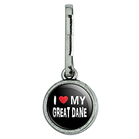 Antiqued Charm Clothes Purse Luggage Backpack Zipper Pull I Love My Dog E-K - Great Dane